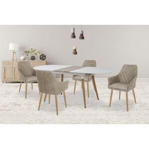 HALMAR Caliber oválny rozkladací jedálenský stôl biela / dub san remo
