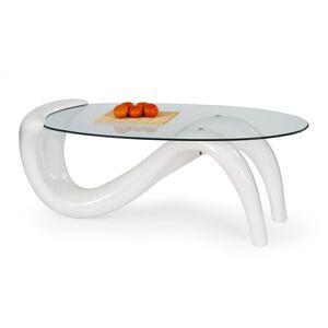 HALMAR Cortina sklenený konferenčný stolík biely lesk / priehľadná
