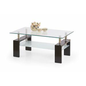 HALMAR Diana Intro sklenený konferenčný stolík wenge / priehľadná / mliečna