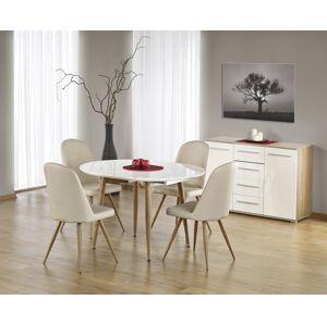 HALMAR Edward rozkladací jedálenský stôl biely lesk / dub medový