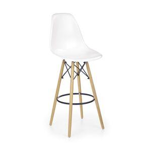 HALMAR H-51 barová stolička biela / buk