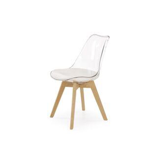 HALMAR K246 jedálenská stolička biela / priehľadná / buk