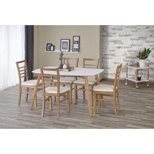 HALMAR Kajetan 135/185 rozkladací jedálenský stôl biela / dub medový