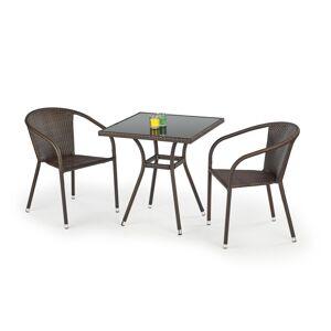 HALMAR Mobil záhradný stolík tmavohnedá / čierna