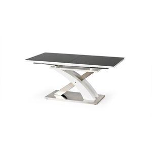HALMAR Sandor 2 rozkladací jedálenský stôl čierny lesk / biely lesk / nerezová