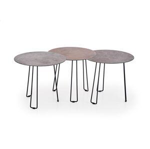 HALMAR Triple okrúhly konferenčný stolík (3 ks) sivá / hnedá / čierna