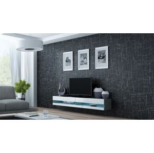 CAMA MEBLE Vigo New 180 tv stolík na stenu sivá / biely lesk