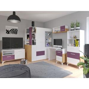 MEBLOCROSS Hey študentská izba dub artisan / biela / fialová