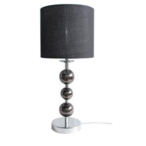 TEMPO KONDELA Jade Typ 8 stolná lampa čierna / chrómová / sivá