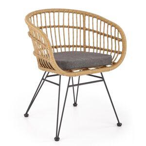 HALMAR K456 záhradná stolička prírodná / sivá / čierna