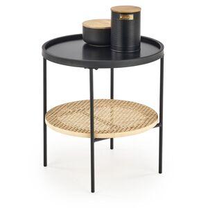HALMAR Kampa okrúhly príručný stolík čierna / prírodná