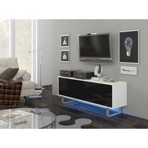 MEBLOCROSS King KIN-01 tv stolík biela / čierny lesk