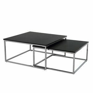 TEMPO KONDELA Amias konferenčný stolík (2 ks) čierna / chróm