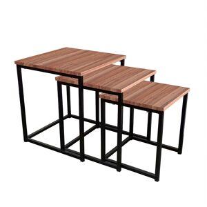 TEMPO KONDELA Kastler Typ 3 konferenčný stolík (3 ks) čierna / orech