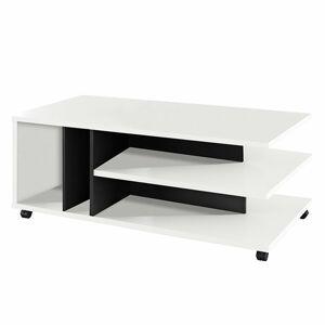 TEMPO KONDELA Dasti konferenčný stolík na kolieskach biela / čierna