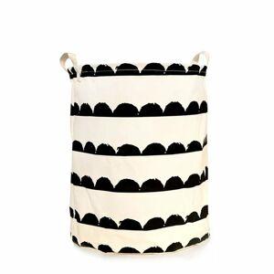 TEMPO KONDELA Plejo Typ 2 kôš na prádlo biela / čierny vzor