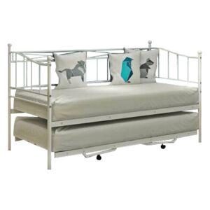 TEMPO KONDELA Zarola kovová rozkladacia posteľ s prístelkou biela