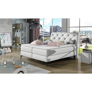 NABBI Lazio 140 čalúnená manželská posteľ s úložným priestorom biela
