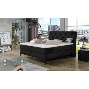 NABBI Lazio 160 čalúnená manželská posteľ s úložným priestorom čierna (Sawana 14)