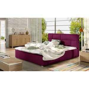 NABBI Liza 180 čalúnená manželská posteľ s roštom vínová
