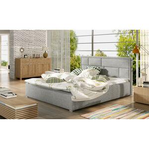 NABBI Liza 200 čalúnená manželská posteľ s roštom svetlosivá (Sawana 21)