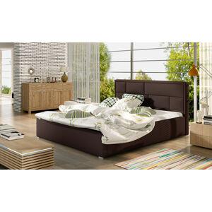 NABBI Liza 200 čalúnená manželská posteľ s roštom tmavohnedá (Soft 66)