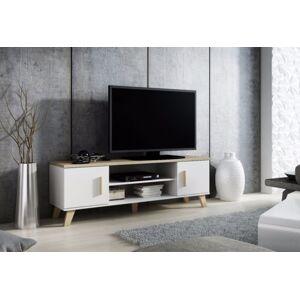 CAMA MEBLE Lotta 160 2D2K tv stolík biela / dub sonoma