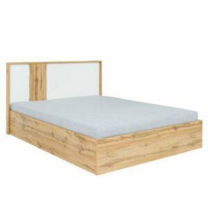 TEMPO KONDELA Vodena 160 manželská posteľ s osvetlením dub wotan / biela