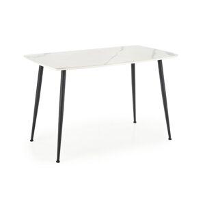HALMAR Marco jedálenský stôl biely mramor / čierna