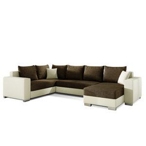 NABBI Mariano L rohová sedačka u s rozkladom a úložným priestorom hnedá / béžová