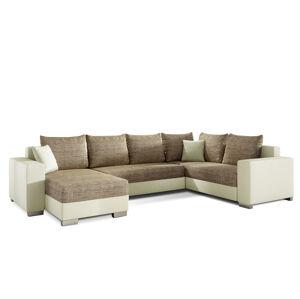 NABBI Mariano P rohová sedačka u s rozkladom a úložným priestorom cappuccino / béžová