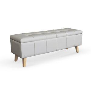 HALMAR Massimo čalúnená lavica s úložným priestorom biela / prírodná