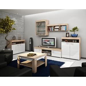MEBLOCROSS Max obývacia izba sonoma svetlá / biely lesk