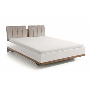 TARANKO Como CM-3 160 manželská posteľ biely vysoký lesk / dub Como / béžovosivá