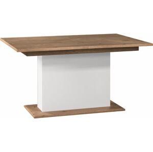 TARANKO Como CM-S1 rozkladací jedálenský stôl biely vysoký lesk / dub Como
