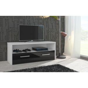 MEBLOCROSS Tirana tv stolík biela / čierna
