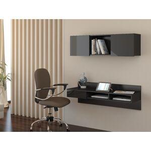 MEBLOCROSS Uno pc stolík na stenu s policou čierna