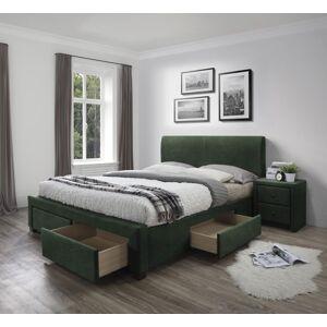 HALMAR Modena 3 160 čalúnená manželská posteľ s úložným priestorom tmavozelená (Velvet)