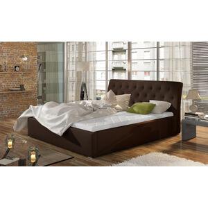 NABBI Monzo 140 čalúnená manželská posteľ s roštom tmavohnedá (Soft 66)