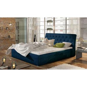 NABBI Monzo 140 čalúnená manželská posteľ s roštom tmavomodrá