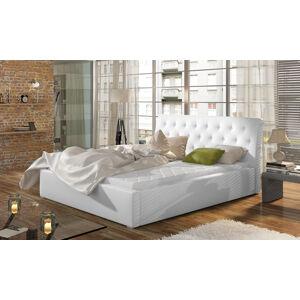 NABBI Monzo UP 180 čalúnená manželská posteľ s roštom biela