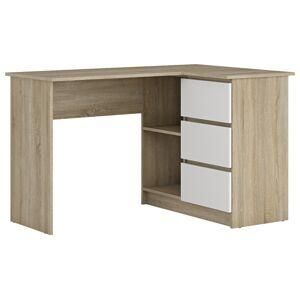 NABBI Afors rohový pc stolík dub sonoma / biela
