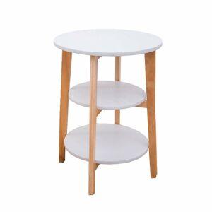 TEMPO KONDELA Kase okrúhly príručný stolík biela / prírodná