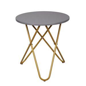 TEMPO KONDELA Rondel okrúhly príručný stolík sivá / zlatá