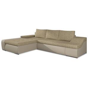 NABBI Oristano L rohová sedačka s rozkladom a úložným priestorom cappuccino / béžová
