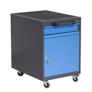 NABBI P2 mobilný kontajner k pracovnému stolu na kolieskach grafit / modrá