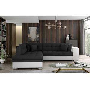NABBI Pescara L rohová sedačka s rozkladom čierna (Sawana 14) / biela (Soft 17)