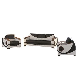 NABBI Pietro 3+1 rozkladacia sedacia súprava s úložným priestorom čierna / biela