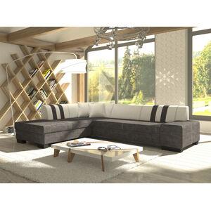 NABBI Pinero II L rohová sedačka s rozkladom a úložným priestorom sivá (Sawana 05) / biela (Soft 17)