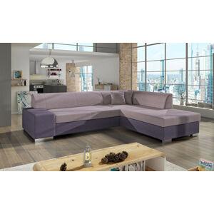 NABBI Pinero P rohová sedačka s rozkladom a úložným priestorom ružová / fialová